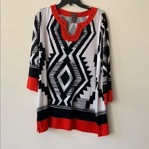 NWOT red black and white long blouse